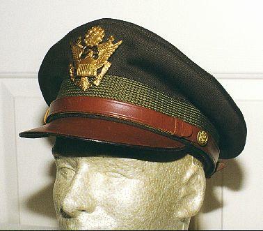WW2 US Army Air Corps Officers Pilots OD Visor Gabardine Cap Replica